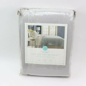 Martha stewart Quilted Knit Blanket Grey Full Quee